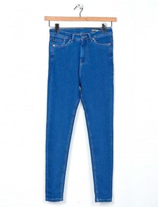 Desi Belle solid soft denim blue latest jeans