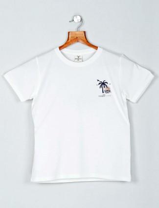 Desi Belle white cotton printed top for women
