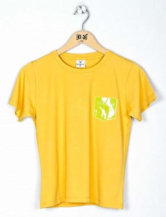 Desi Belle yellow round nack top for women