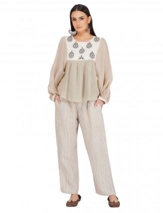 Designer beige cotton festive occasions pant suit