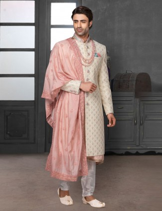 Designer beige sherwani in silk