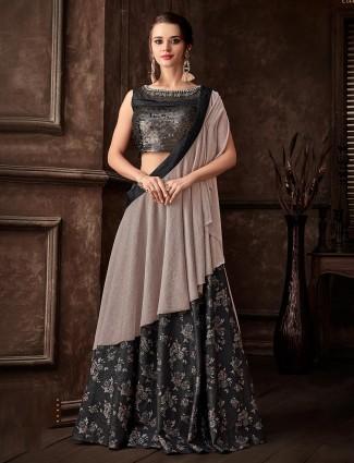 Designer black lehenga cum saree in lycra and silk for wedding