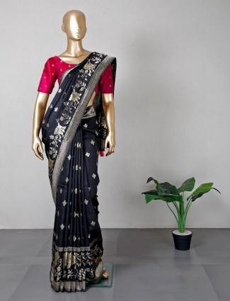 Designer black silk wedding saree