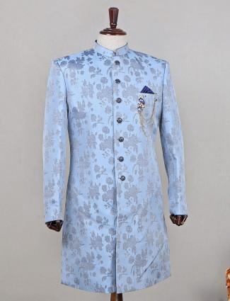 Designer blue raw silk indowestern sherwani