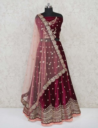 Designer bridal maroon velvet semi stitched lehenga