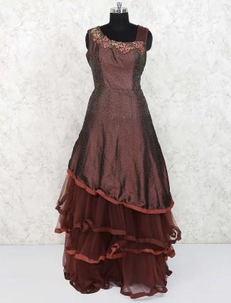 Designer brown color silk gown