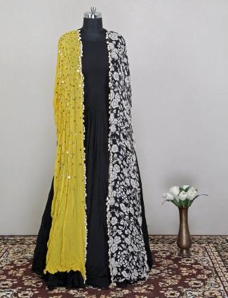 Designer cape style black colored gown in georgette