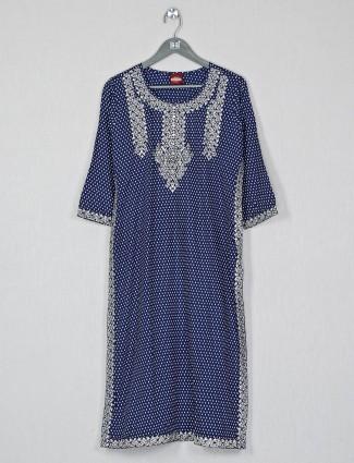 Designer casual wear blue cotton kurti