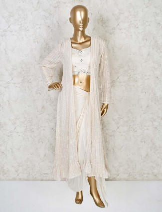 Designer cream draped skirt with jacket for wedding in georgette and satin