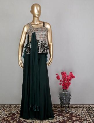 Designer georgette bottle green palazzo salwar kameez for wedding event