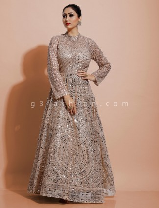Designer gold indo western dress for party in net