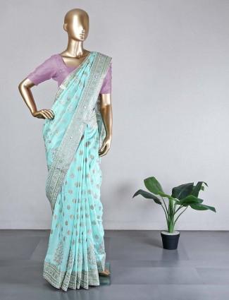 Designer green cotton silk saree for festive wear