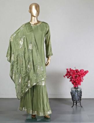 Designer green crope silk sharara suit for wedding