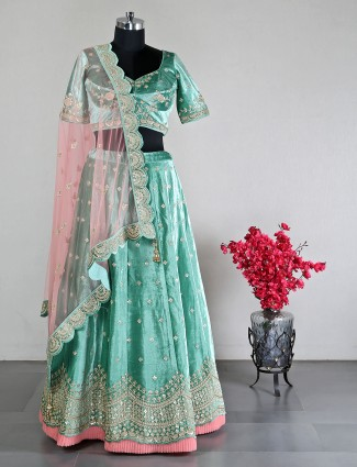 Designer green velevt wedding semi stitched lehenga choli