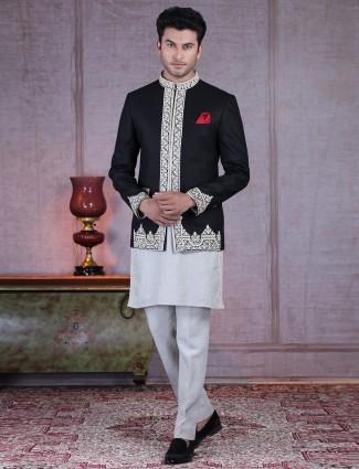 Designer grey and black cotton silk indo western suit