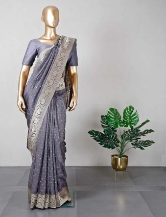 Designer grey cotton silk saree for weddings