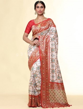 Designer grey patola silk saree for weddings