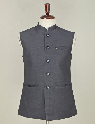 Designer grey solid terry rayon waistcoat for mens