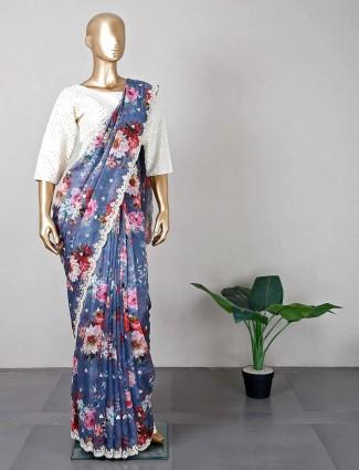 Designer grey wedding wear tissue silk saree