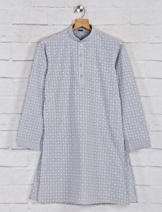 Designer kurta pajama in grey cotton