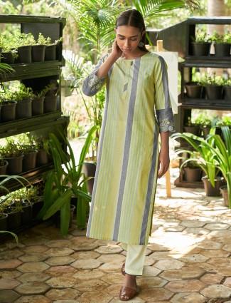 Designer lemon yellow stripe cotton casual wear kurti