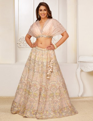 Designer light peach georgette wedding occasions lehenga choli