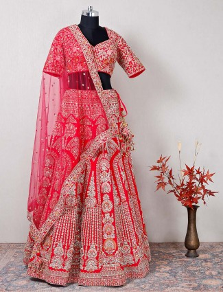 Designer magenta hue silk bridal lehenga choli