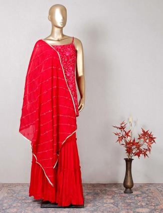 Designer magenta sharara salwar suit in georgette