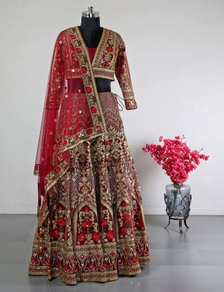 Designer Maroon net bridal wear lehenga choli