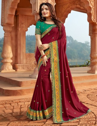 Designer maroon saree for festive function in silk