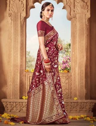 Designer maroon saree for wedding in banarasi silk