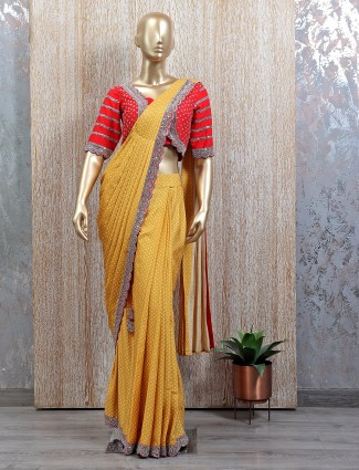 Designer mustard tint ready to wear saree with readymade blouse