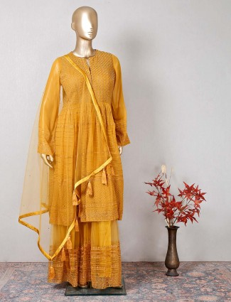 Designer mustard yellow sharara salwar kameez