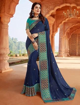 Designer navy saree for festive events in silk
