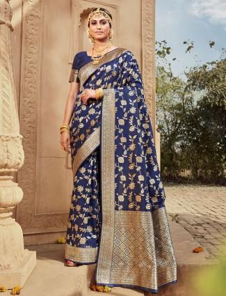 Designer navy saree in banarasi silk for wedding occasions