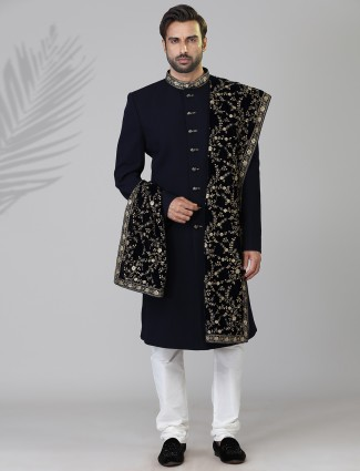 Designer navy terry rayon indo western for wedding
