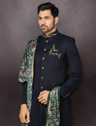 Designer navy terry rayon mens indo western for wedding