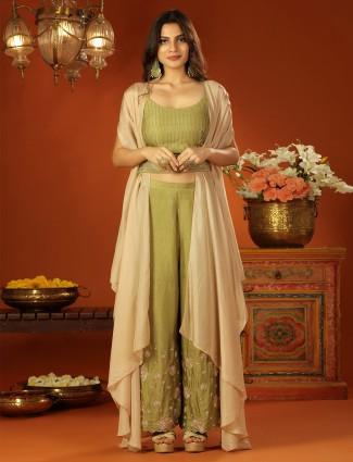 Designer olive green shade jacket style wedding wear palazzo set