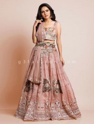 Designer onion pink silk wedding lehenga choli
