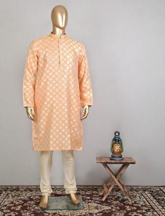 Designer orange festive wear kurta suit for mens