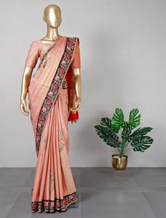 Designer peach raw silk saree for women