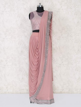 Designer peach ready to wear saree for parties