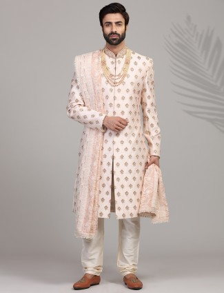 Designer peach silk sherwani with designer dupatta