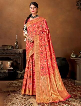 Designer peach wedding saree in patola silk
