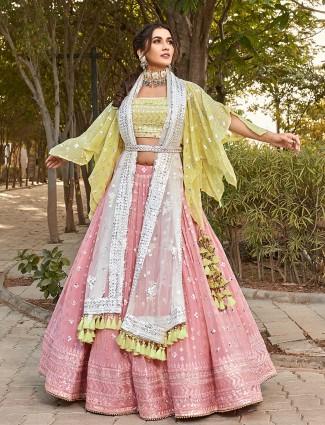 Designer pink color wedding ceremonies lehenga choli