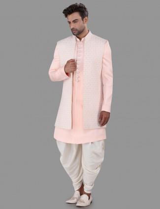 Designer pink cotton silk indo western for wedding