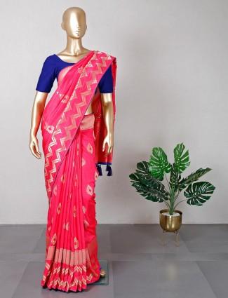 Designer pink muga silk saree for women