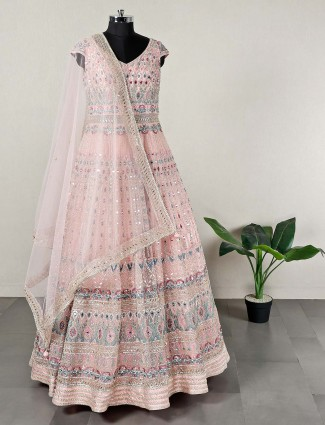 Designer pink net festive wear anarkali suit