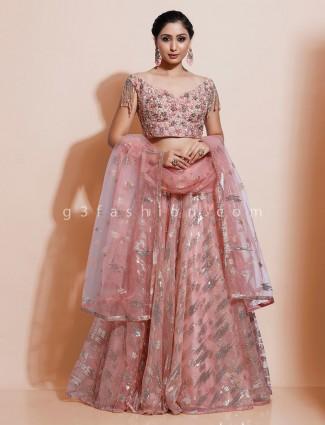 Designer pink organza tissue silk lehenga choli for wedding