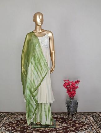 Designer pista green hue wedding wear palazzo set